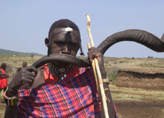 A musician close to the Botswana border showing the art of buffalo horn playing.which has been almost forgotten.